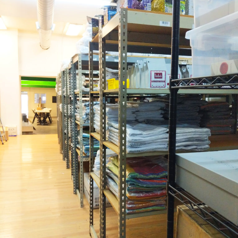 shelving unts at the fulfillment center